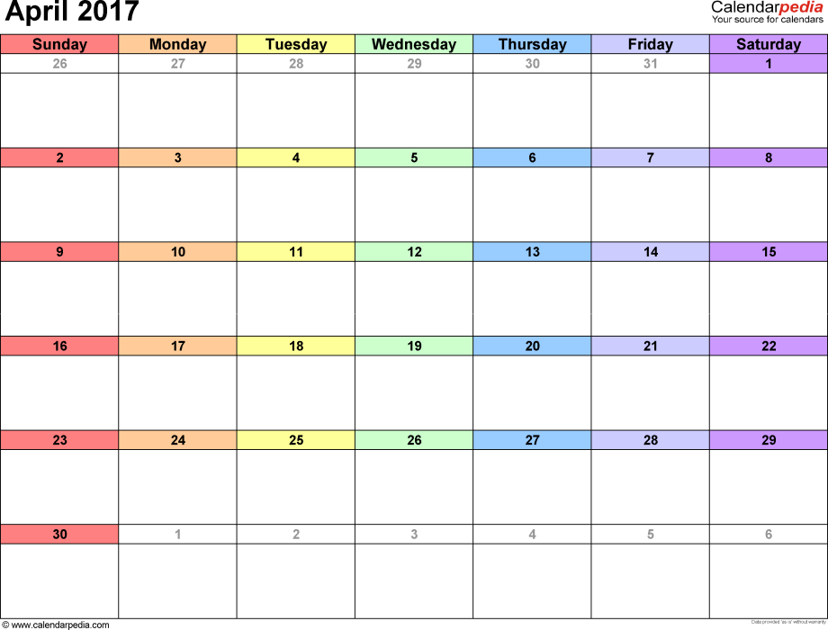 April 2017 calendar, landscape orientation, 'rainbow calendar', available as printable templates for Word, Excel and PDF