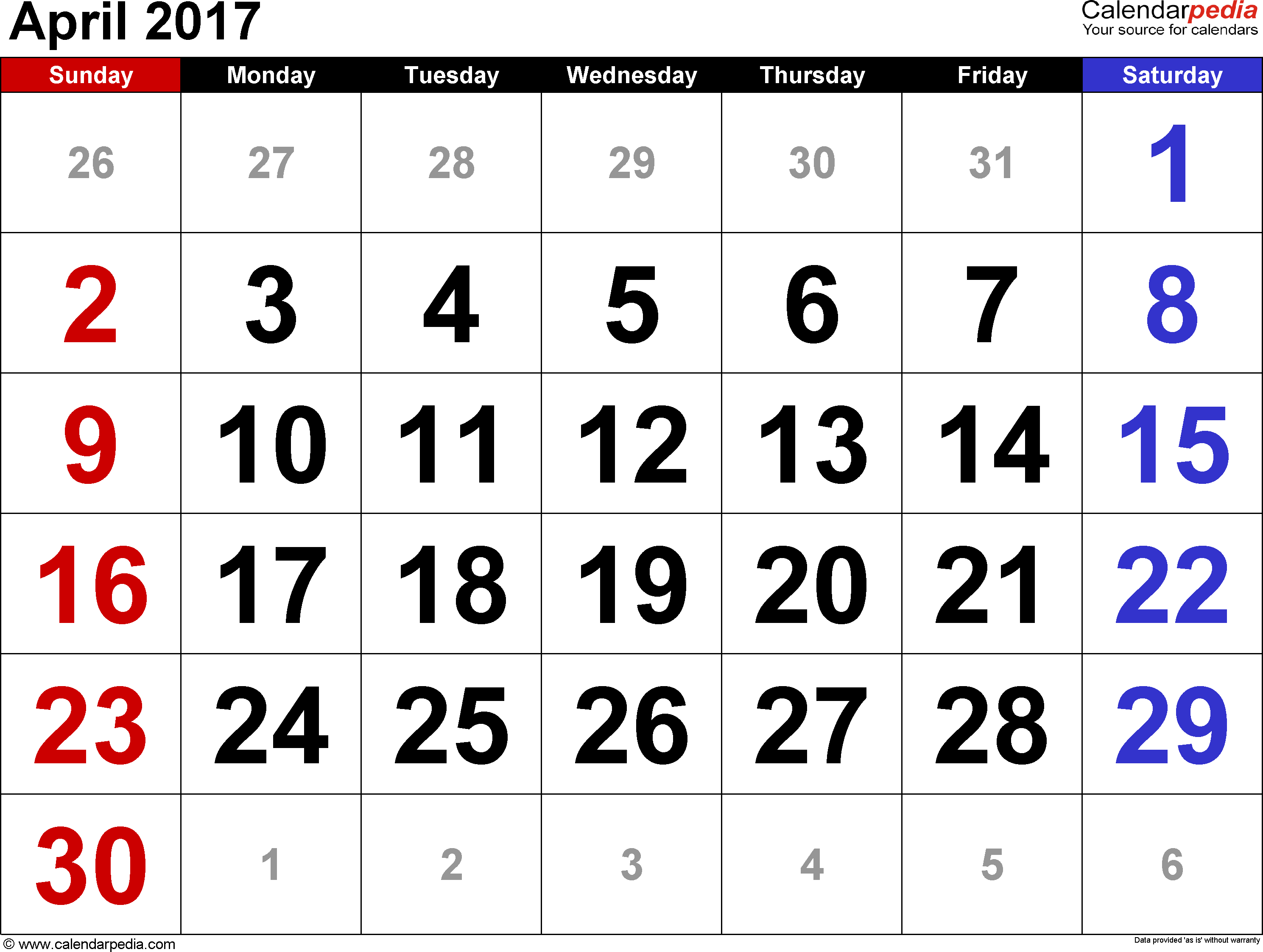 April 2017 Calendars for Word, Excel & PDF