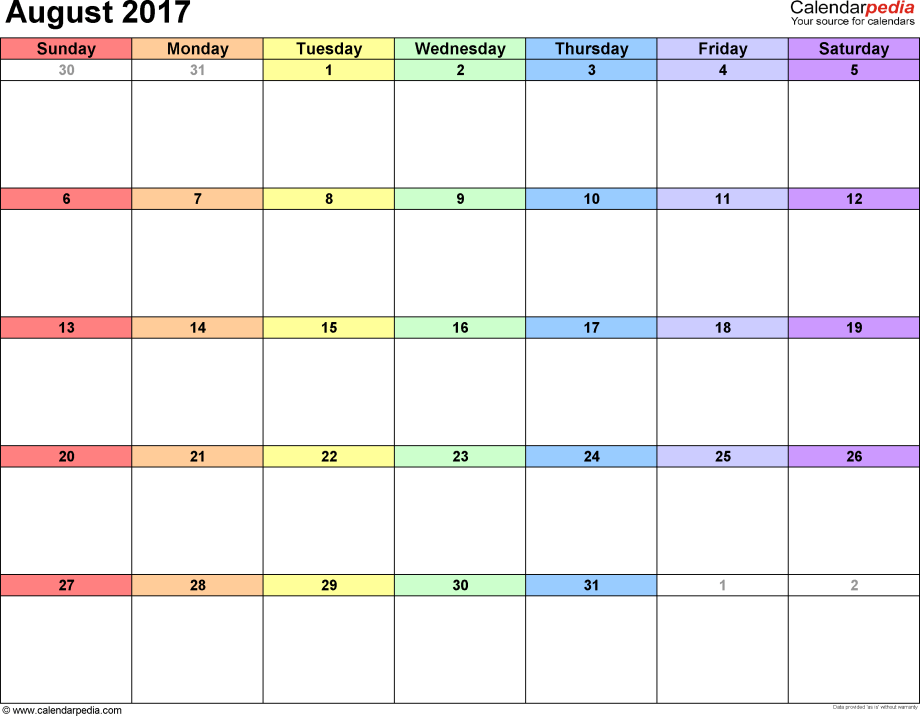 August 2017 calendar, landscape orientation, 'rainbow calendar', available as printable templates for Word, Excel and PDF