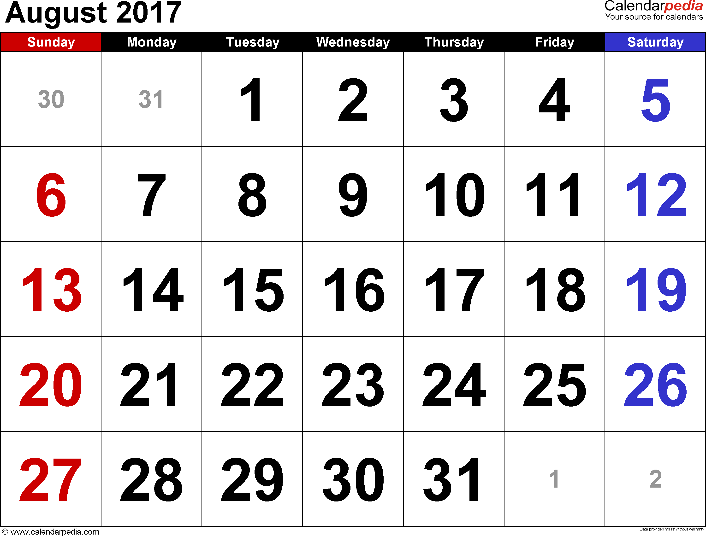 August 2017 calendar, landscape orientation, large numerals, available as printable templates for Word, Excel and PDF