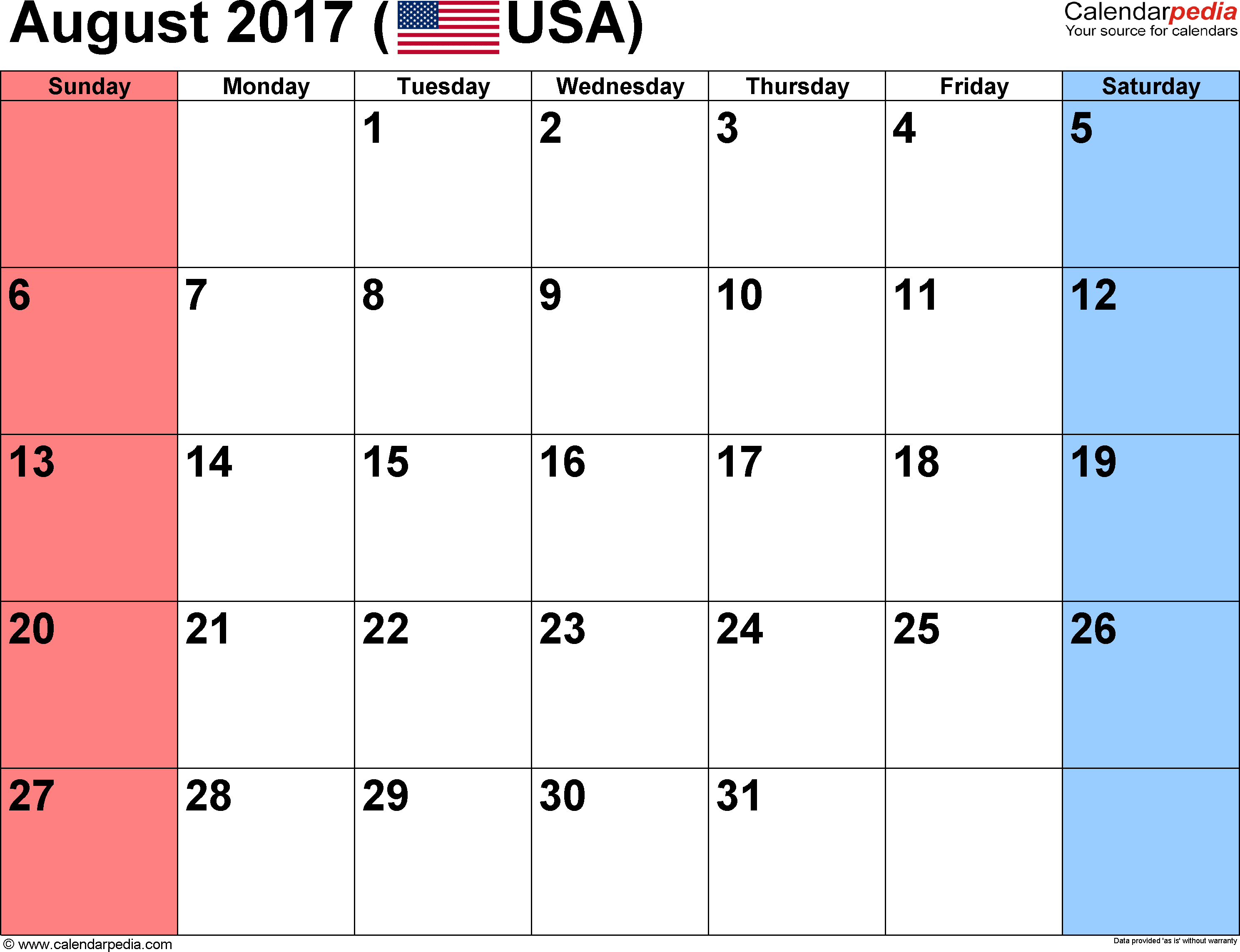 August 2017 calendar, landscape orientation, small numerals, available as printable templates for Word, Excel and PDF