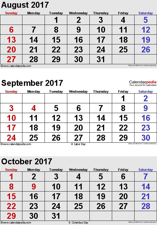 3 months calendar August/September/October 2017 in portrait format