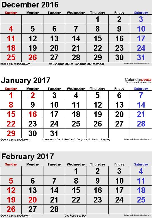 three month calendar December 2016 / January/February 2017 in portrait orientation