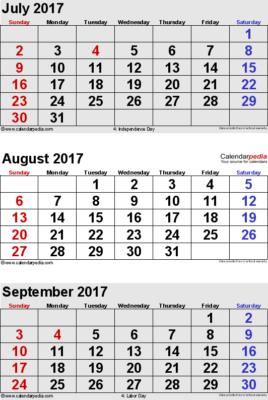 three month calendar July/August/September 2017 in portrait orientation