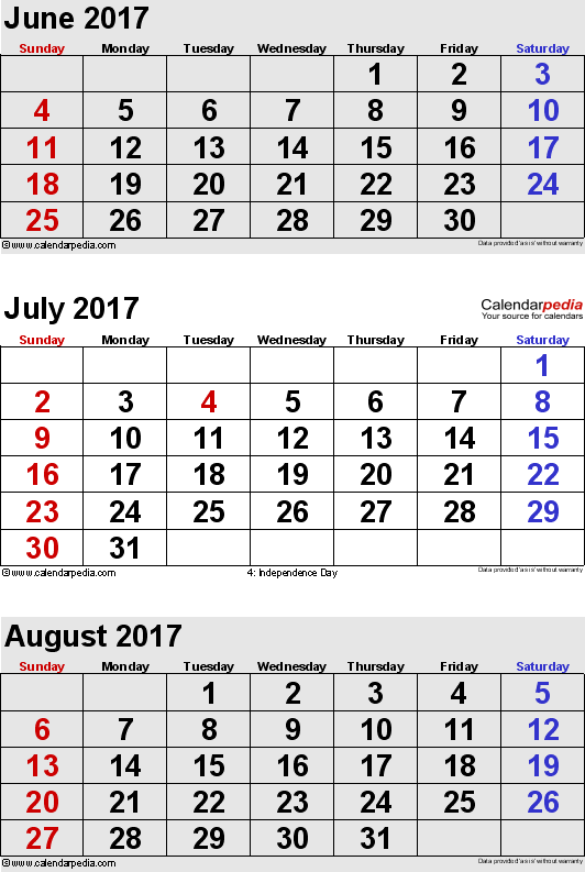 months calendar June/July/August 2017 in portrait format