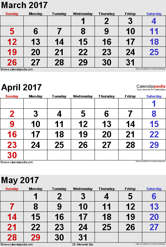 3 months calendar March/April/May 2017 in portrait format
