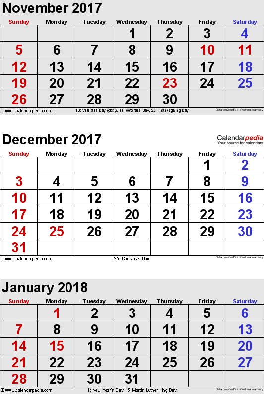 3 months calendar November/December 2017 & January 2018 in portrait format