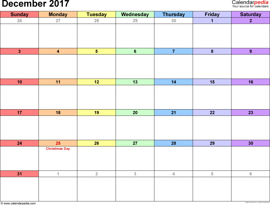 December 2017 calendar, landscape orientation, 'rainbow calendar', available as printable templates for Word, Excel and PDF