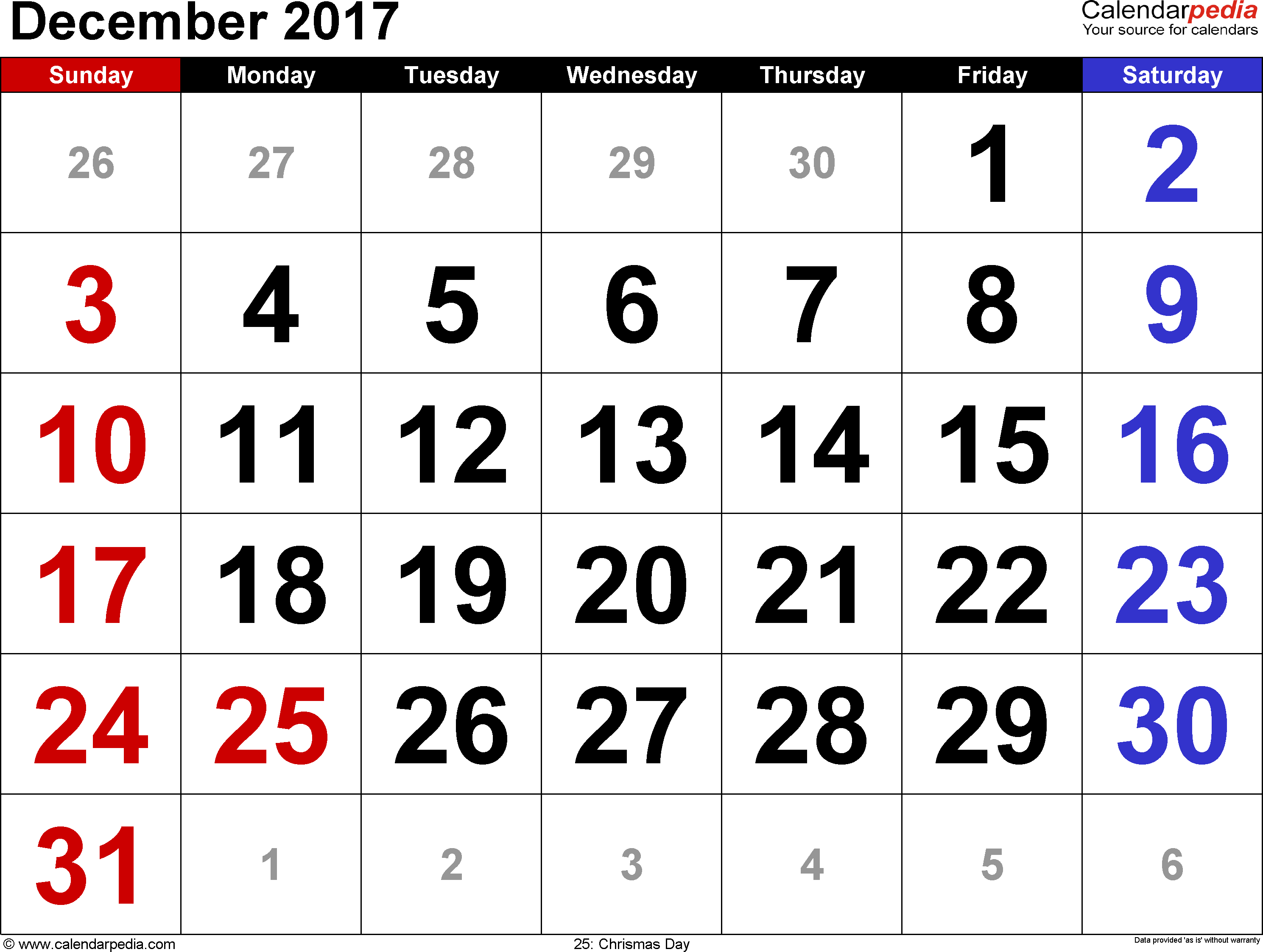 December 2017 calendar, landscape orientation, large numerals, available as printable templates for Word, Excel and PDF