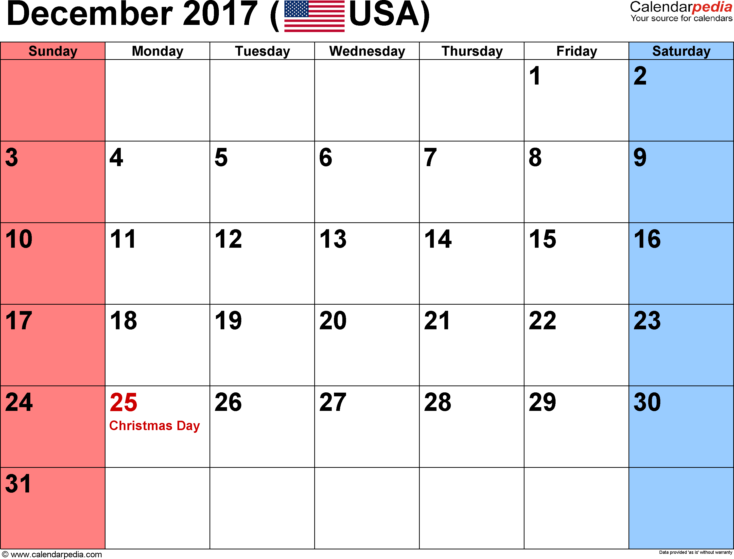 December 2017 calendar, landscape orientation, small numerals, available as printable templates for Word, Excel and PDF