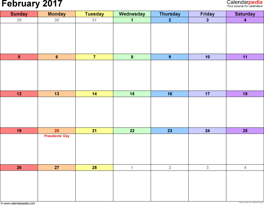 February 2017 calendar, landscape orientation, 'rainbow calendar', available as printable templates for Word, Excel and PDF