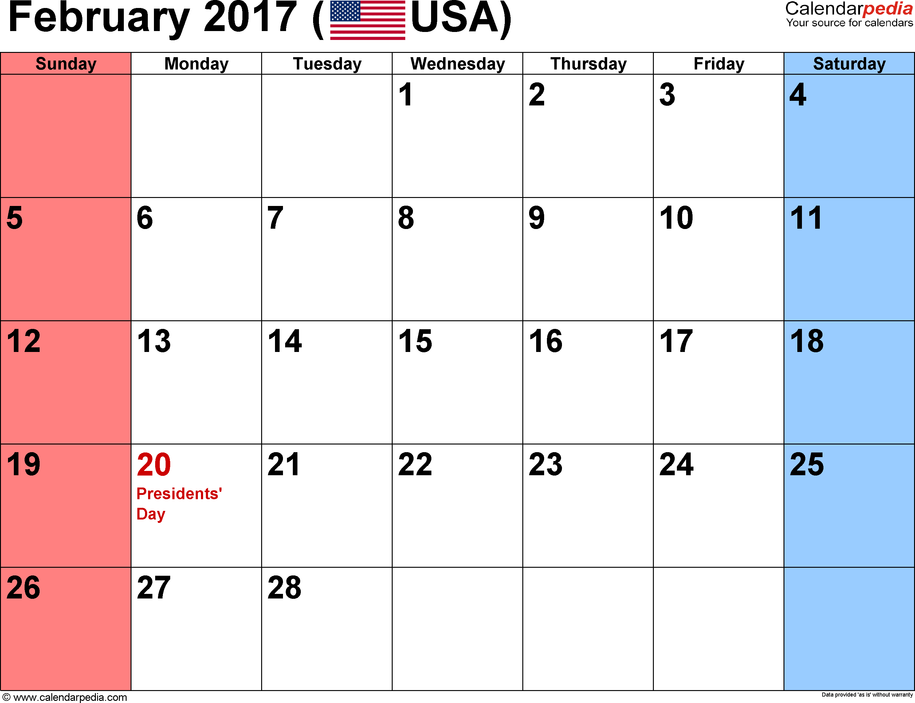 February 2017 calendar, landscape orientation, small numerals, available as printable templates for Word, Excel and PDF