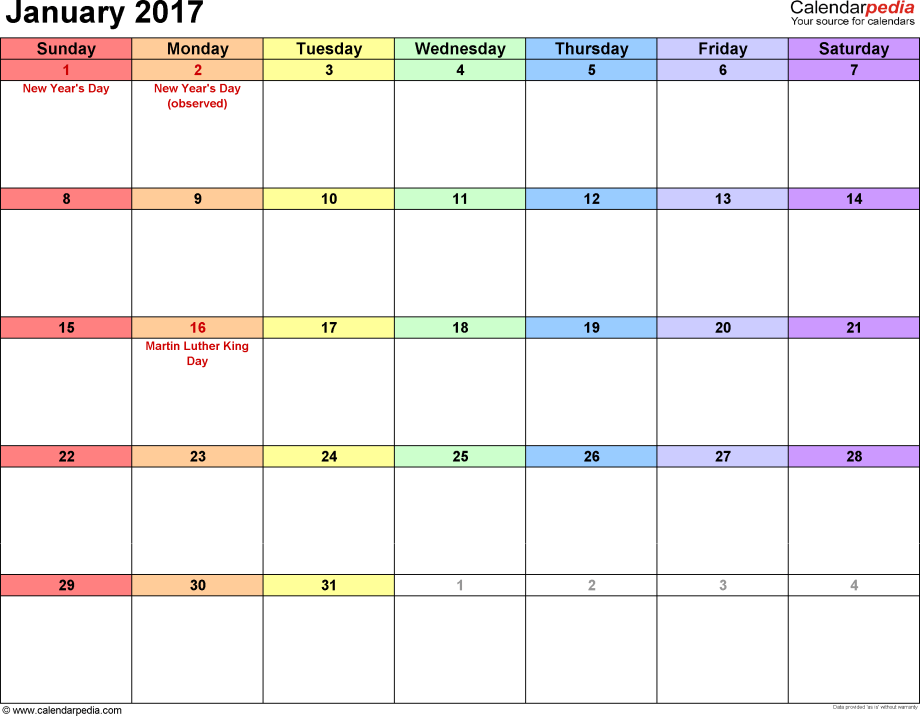 January 2017 calendar, landscape orientation, 'rainbow calendar', available as printable templates for Word, Excel and PDF