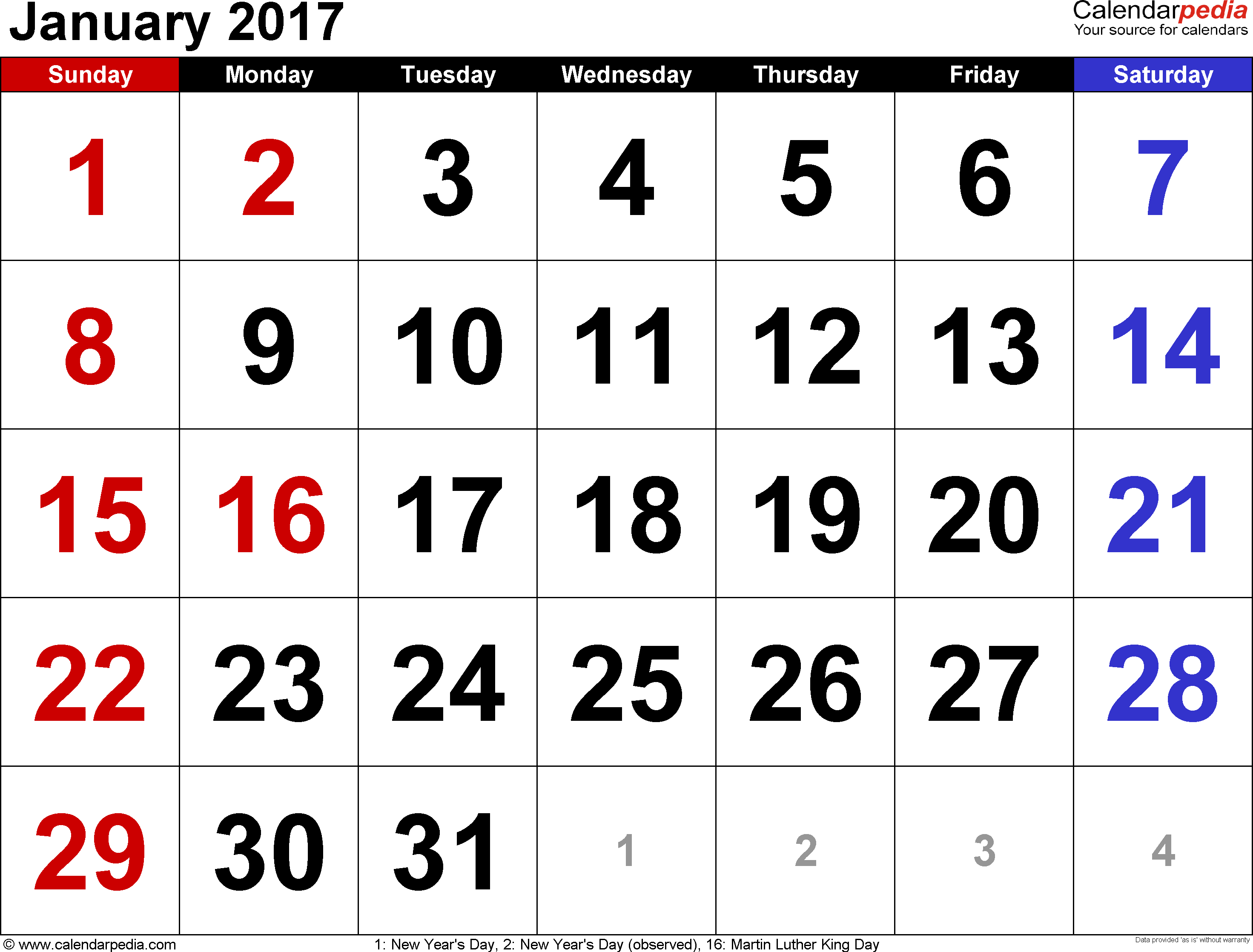January 2017 calendar, landscape orientation, large numerals, available as printable templates for Word, Excel and PDF