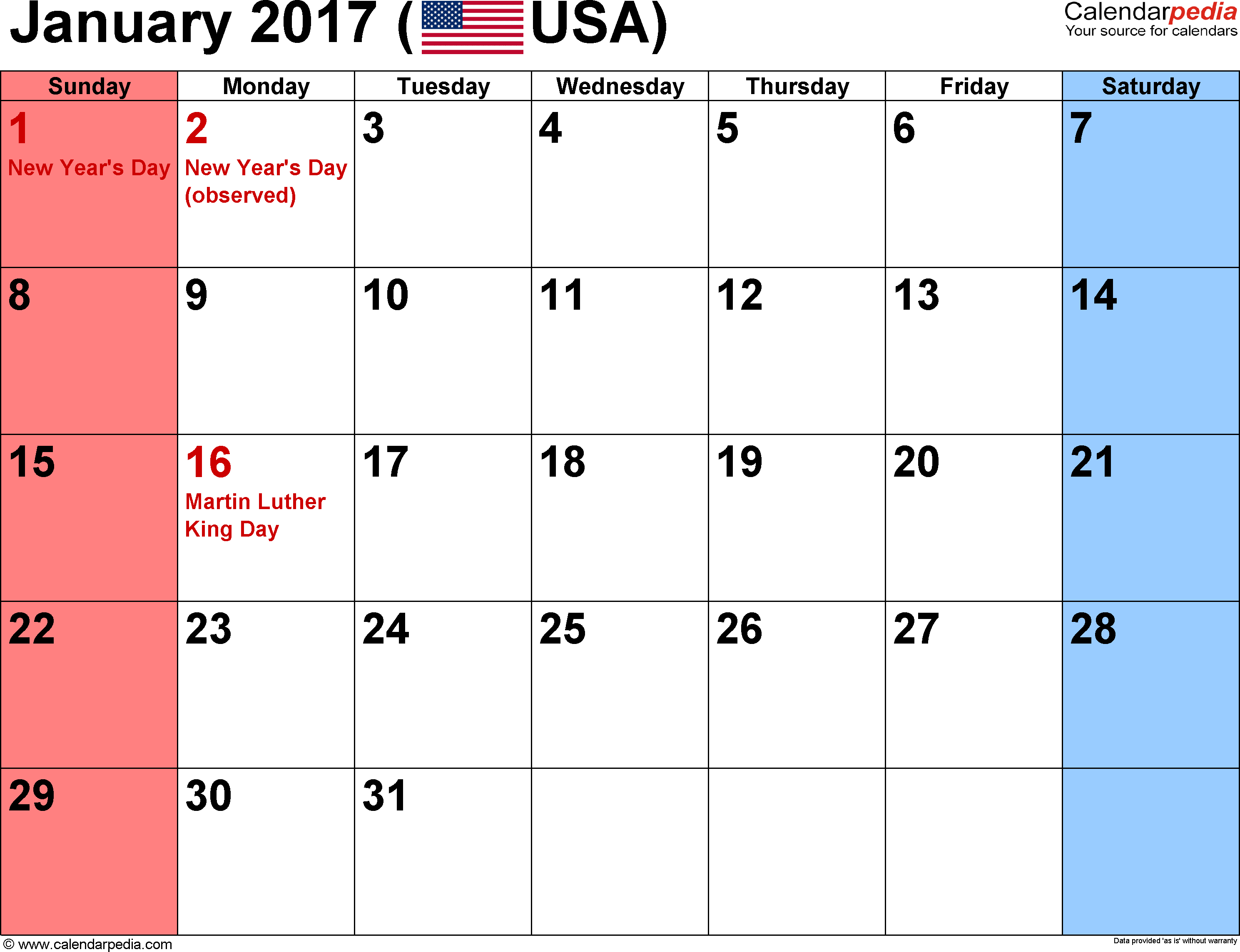 January 2017 calendar, landscape orientation, small numerals, available as printable templates for Word, Excel and PDF