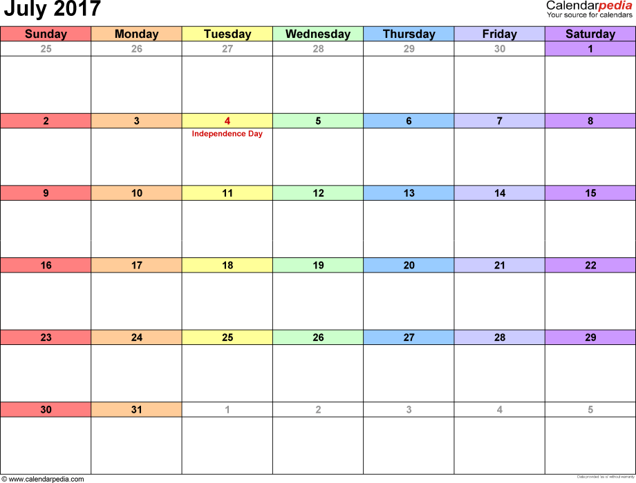 July 2017 calendar, landscape orientation, 'rainbow calendar', available as printable templates for Word, Excel and PDF