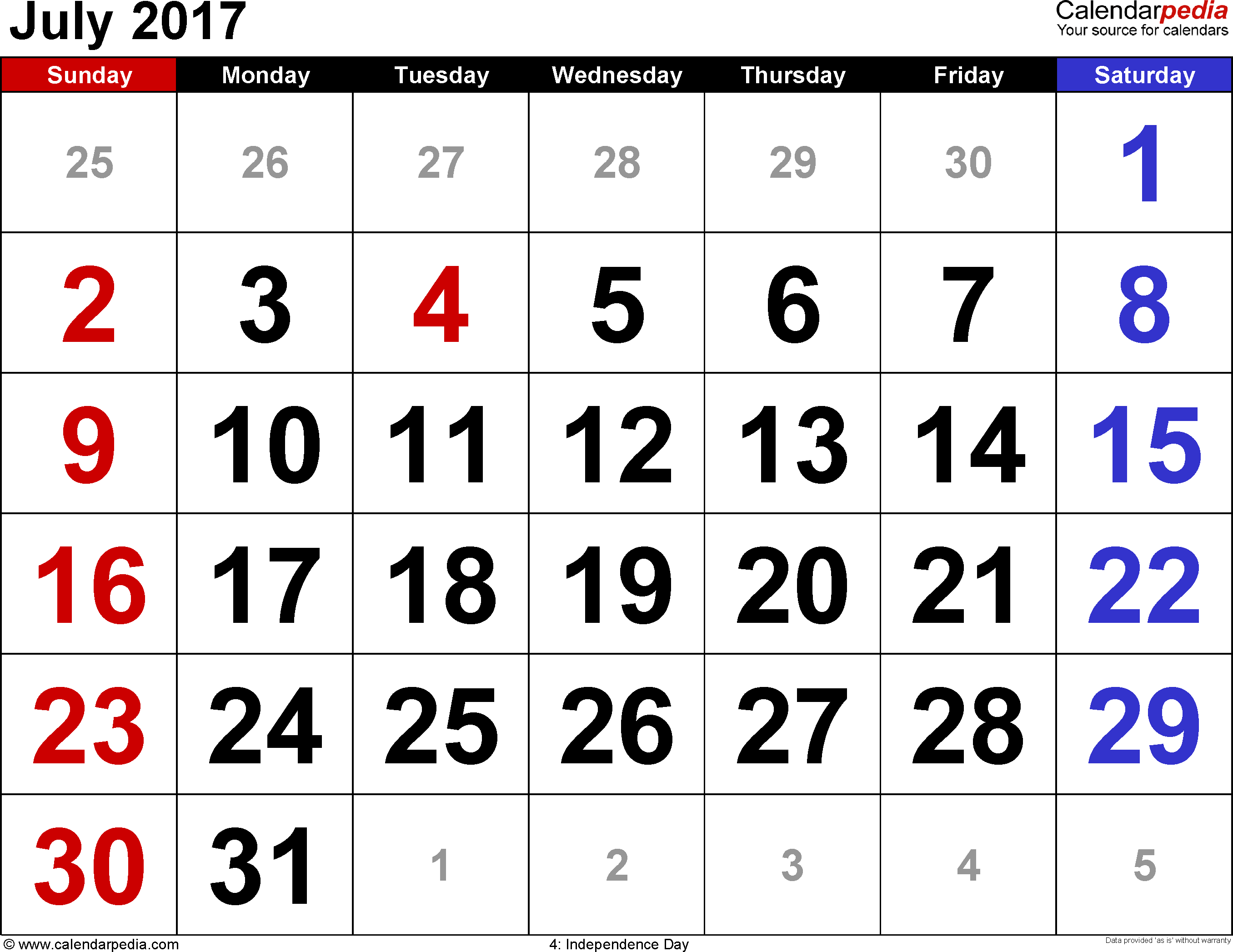 July 2017 calendar, landscape orientation, large numerals, available as printable templates for Word, Excel and PDF