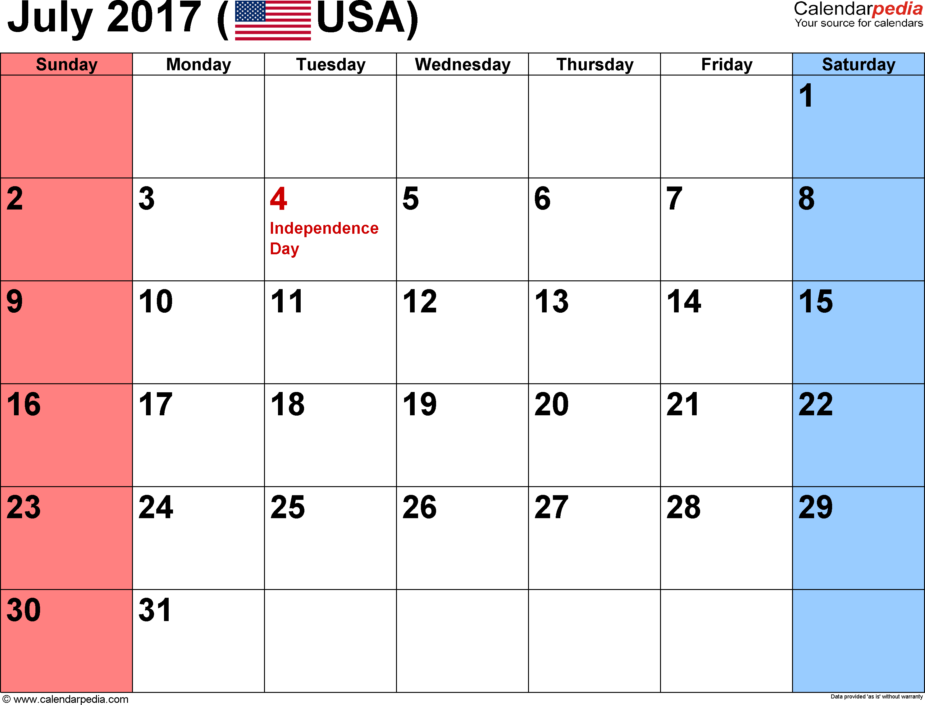 July 2017 calendar, landscape orientation, small numerals, available as printable templates for Word, Excel and PDF