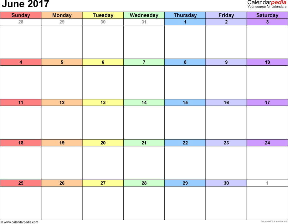 June 2017 calendar, landscape orientation, 'rainbow calendar', available as printable templates for Word, Excel and PDF