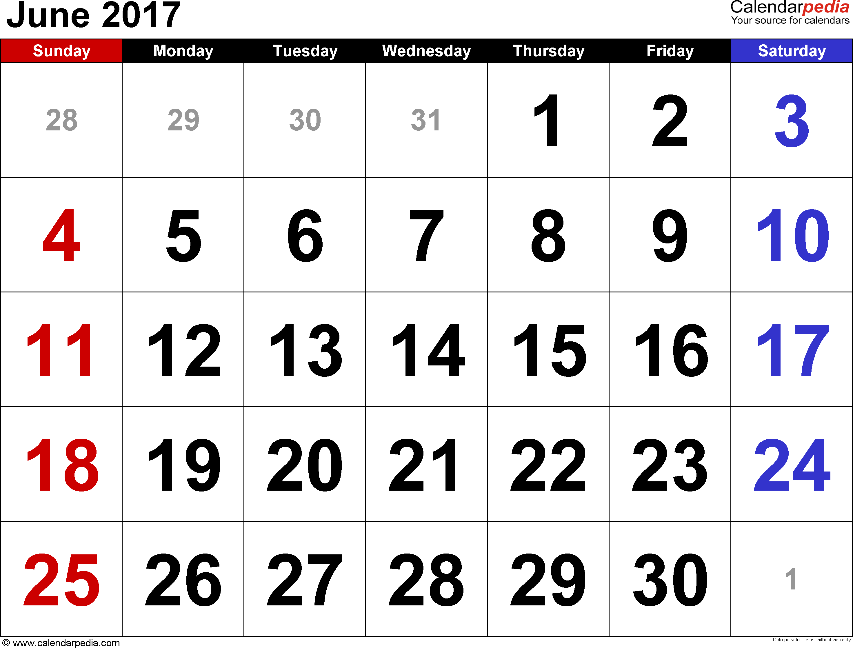 June 2017 calendar, landscape orientation, large numerals, available as printable templates for Word, Excel and PDF