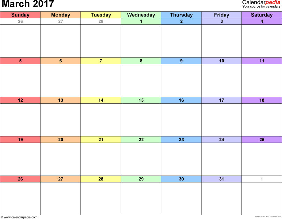 March 2017 calendar, landscape orientation, 'rainbow calendar', available as printable templates for Word, Excel and PDF