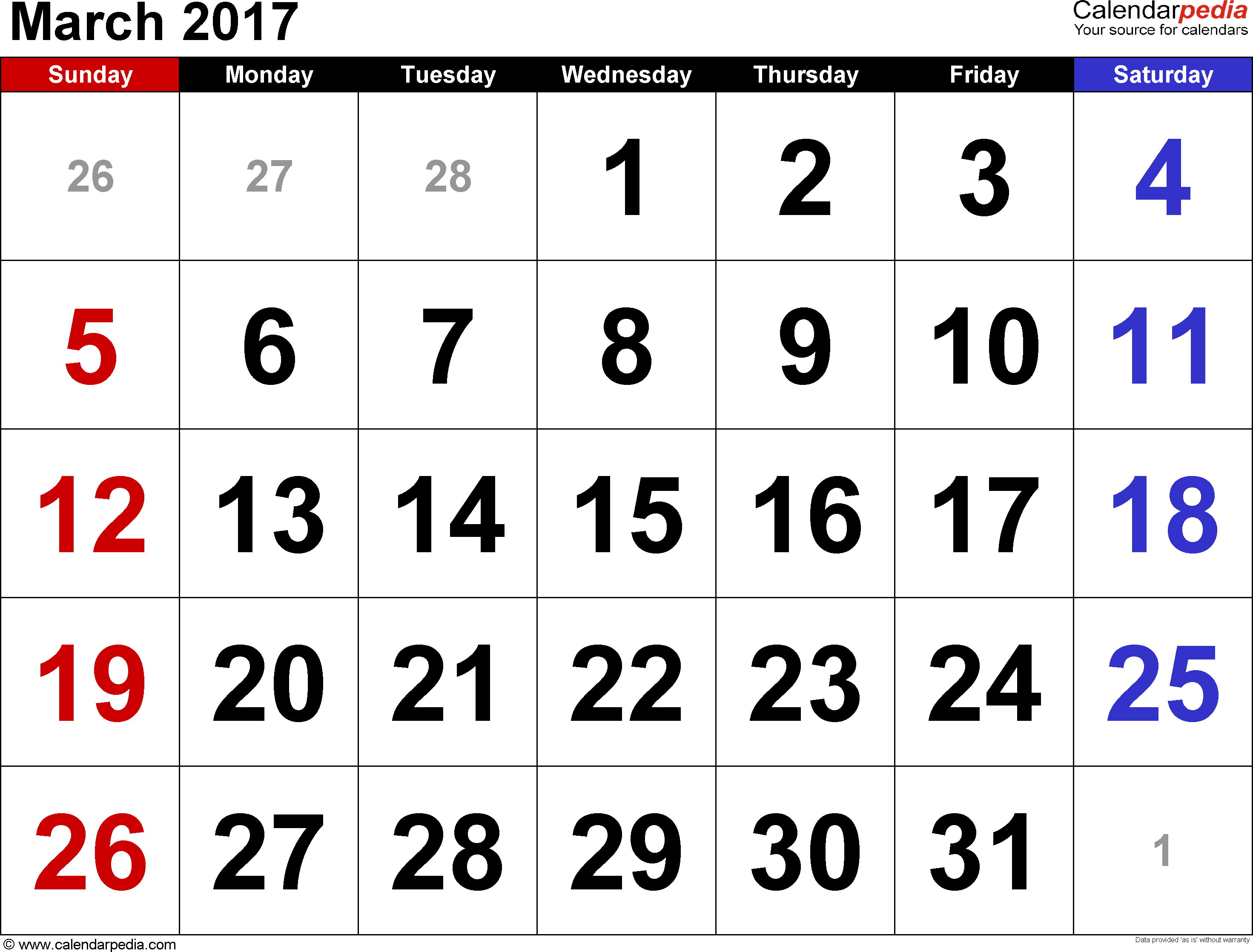 March 2017 calendar, landscape orientation, large numerals, available as printable templates for Word, Excel and PDF