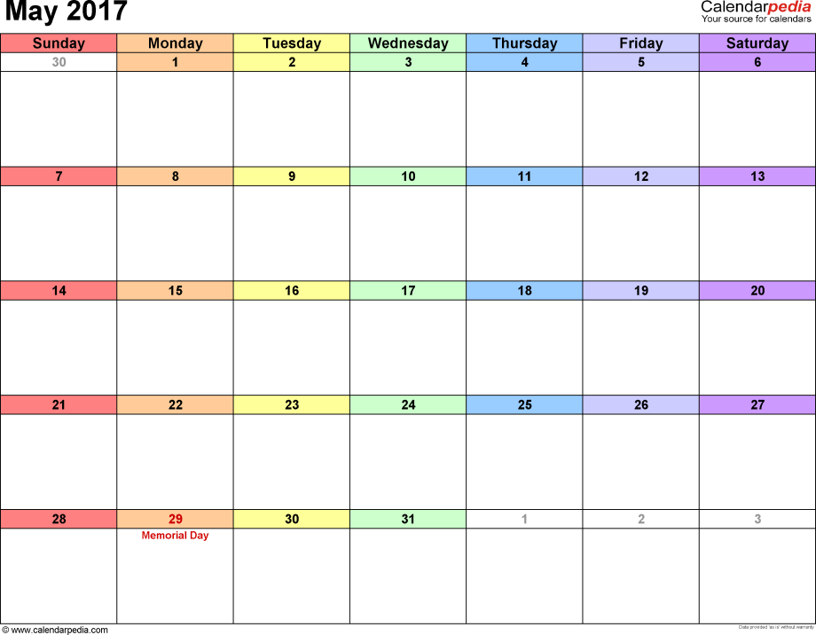 May 2017 calendar, landscape orientation, 'rainbow calendar', available as printable templates for Word, Excel and PDF