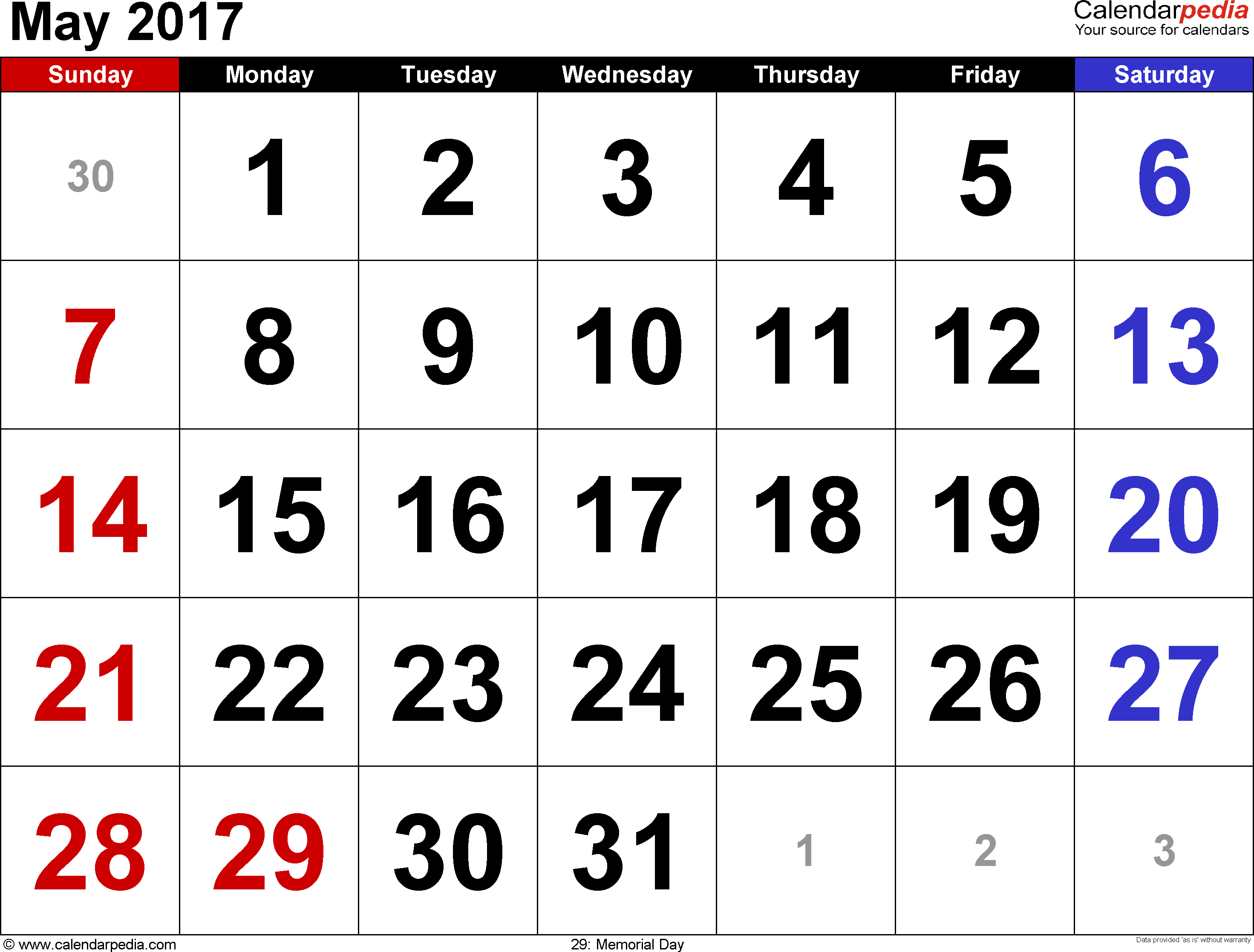 May 2017 calendar, landscape orientation, large numerals, available as printable templates for Word, Excel and PDF