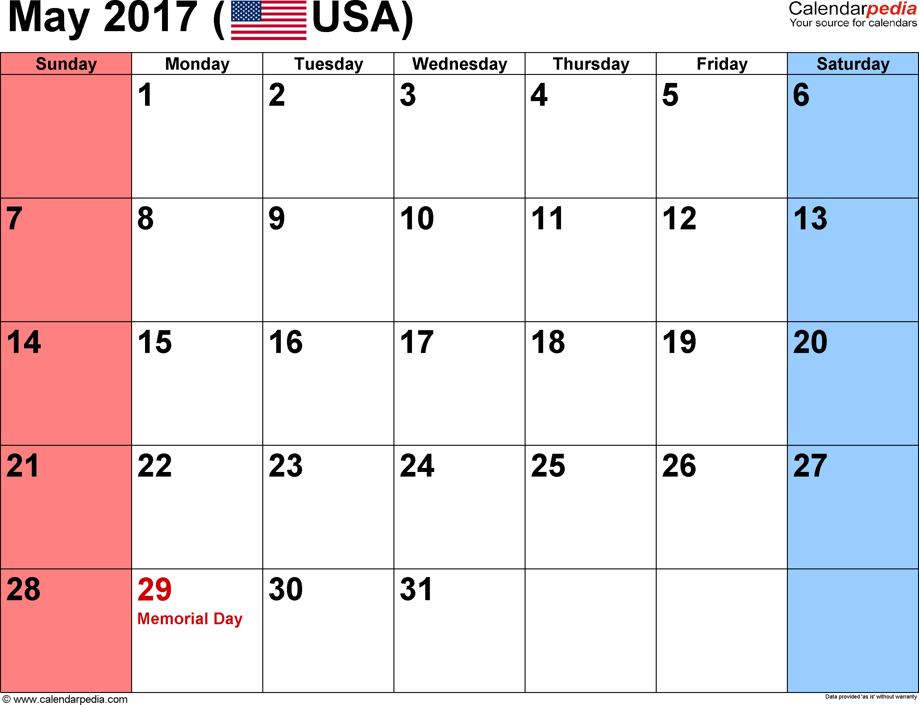 May 2017 calendar, landscape orientation, small numerals, available as printable templates for Word, Excel and PDF