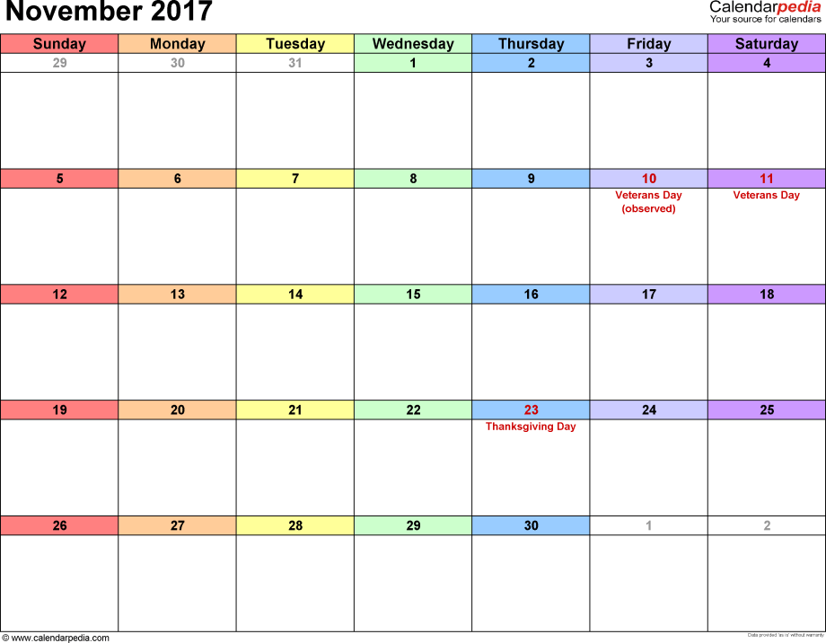 November 2017 calendar, landscape orientation, 'rainbow calendar', available as printable templates for Word, Excel and PDF