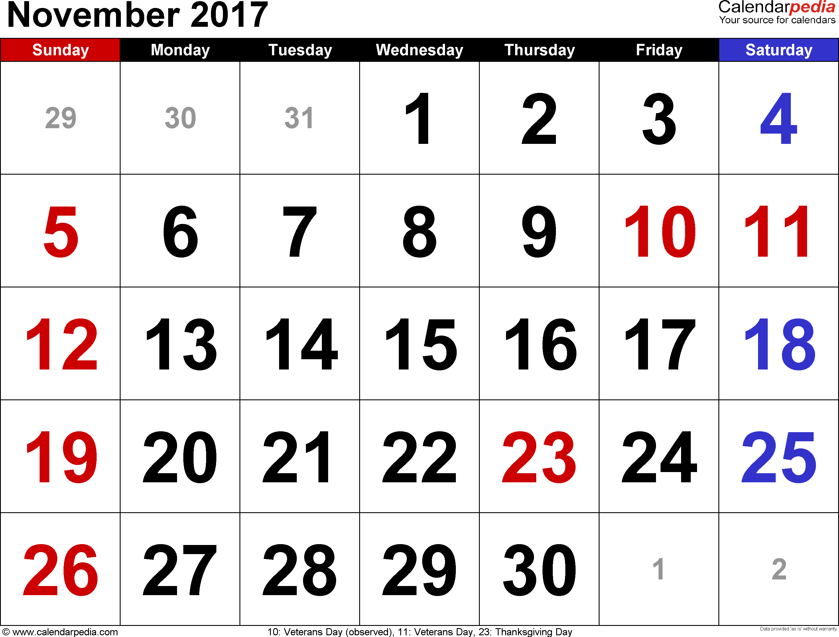 November 2017 calendar, landscape orientation, large numerals, available as printable templates for Word, Excel and PDF