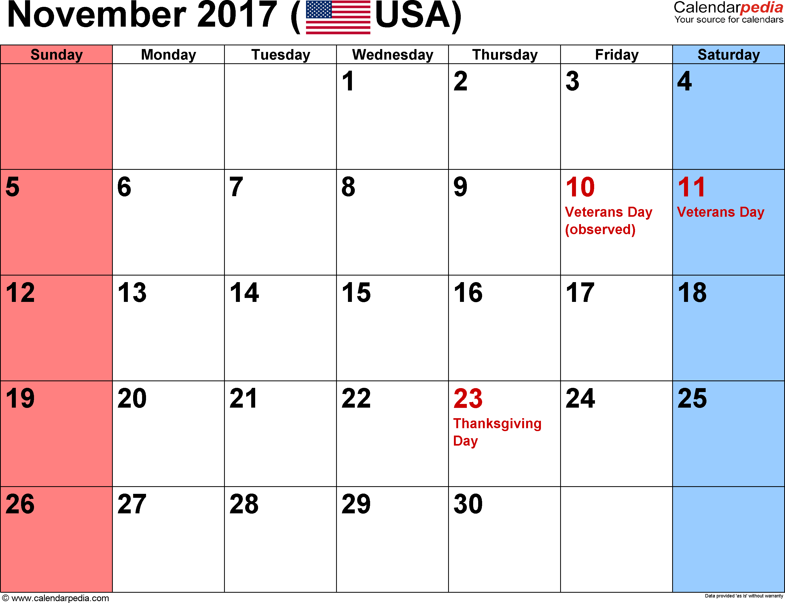 November 2017 calendar, landscape orientation, small numerals, available as printable templates for Word, Excel and PDF