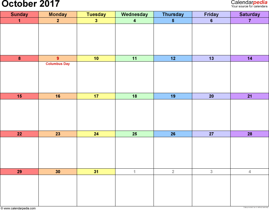 October 2017 calendar, landscape orientation, 'rainbow calendar', available as printable templates for Word, Excel and PDF