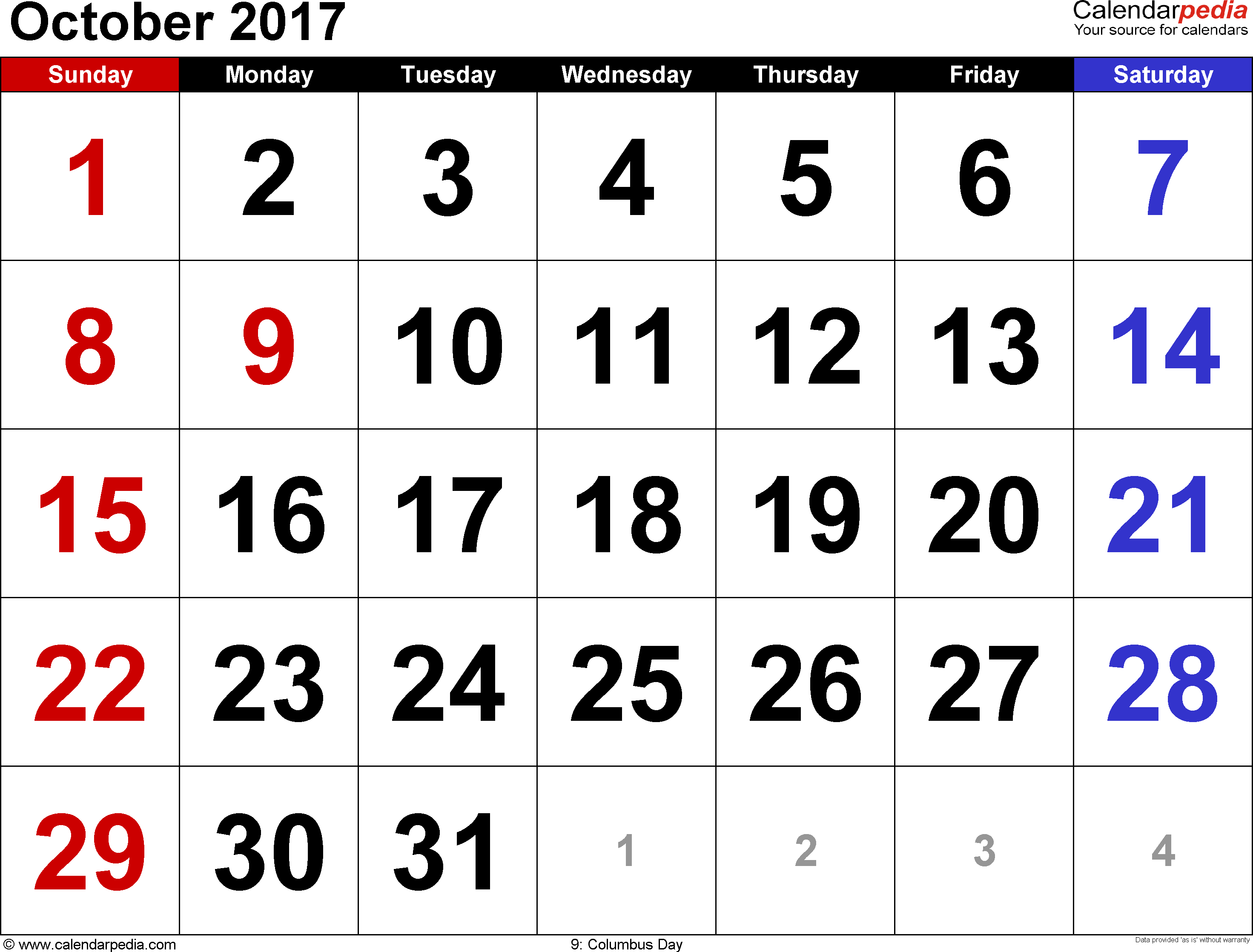 October Calendar 2017 In Word