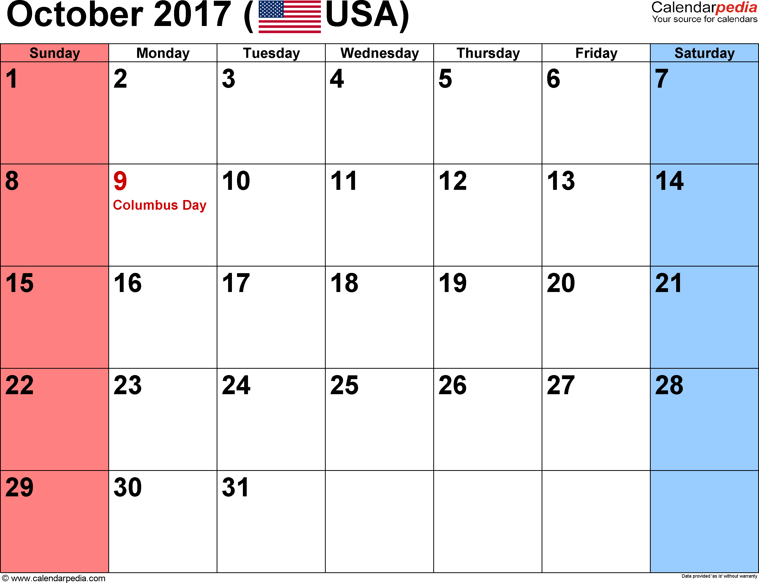 Free Printable October 2017 Calendar - waterproofpaper.com