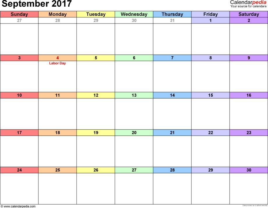 September 2017 calendar printable template