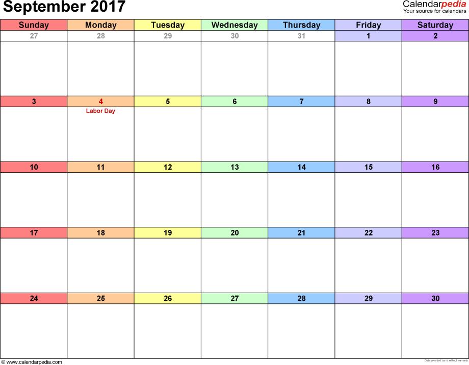 September 2017 calendar, landscape orientation, 'rainbow calendar', available as printable templates for Word, Excel and PDF