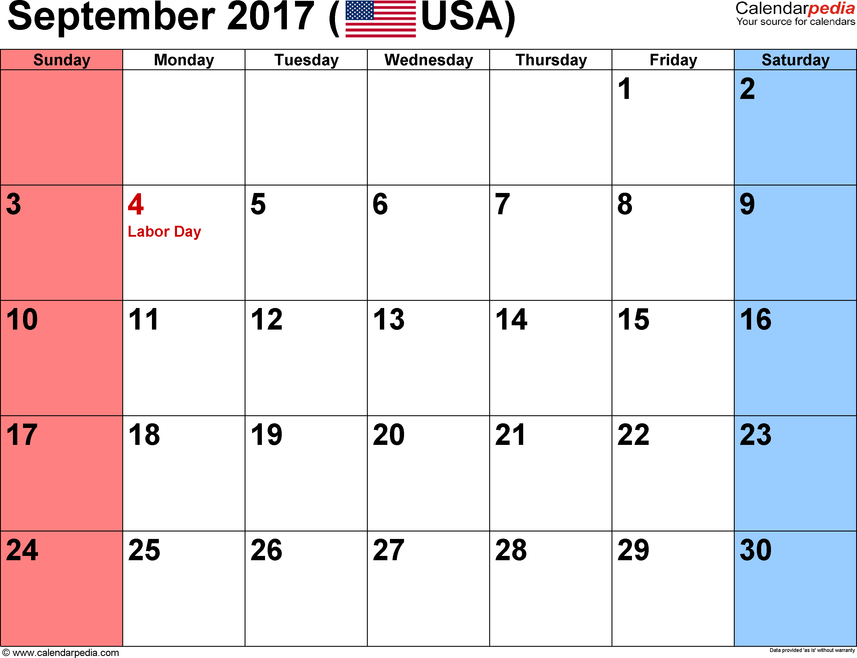 september 2017 calendars for word, excel & pdf