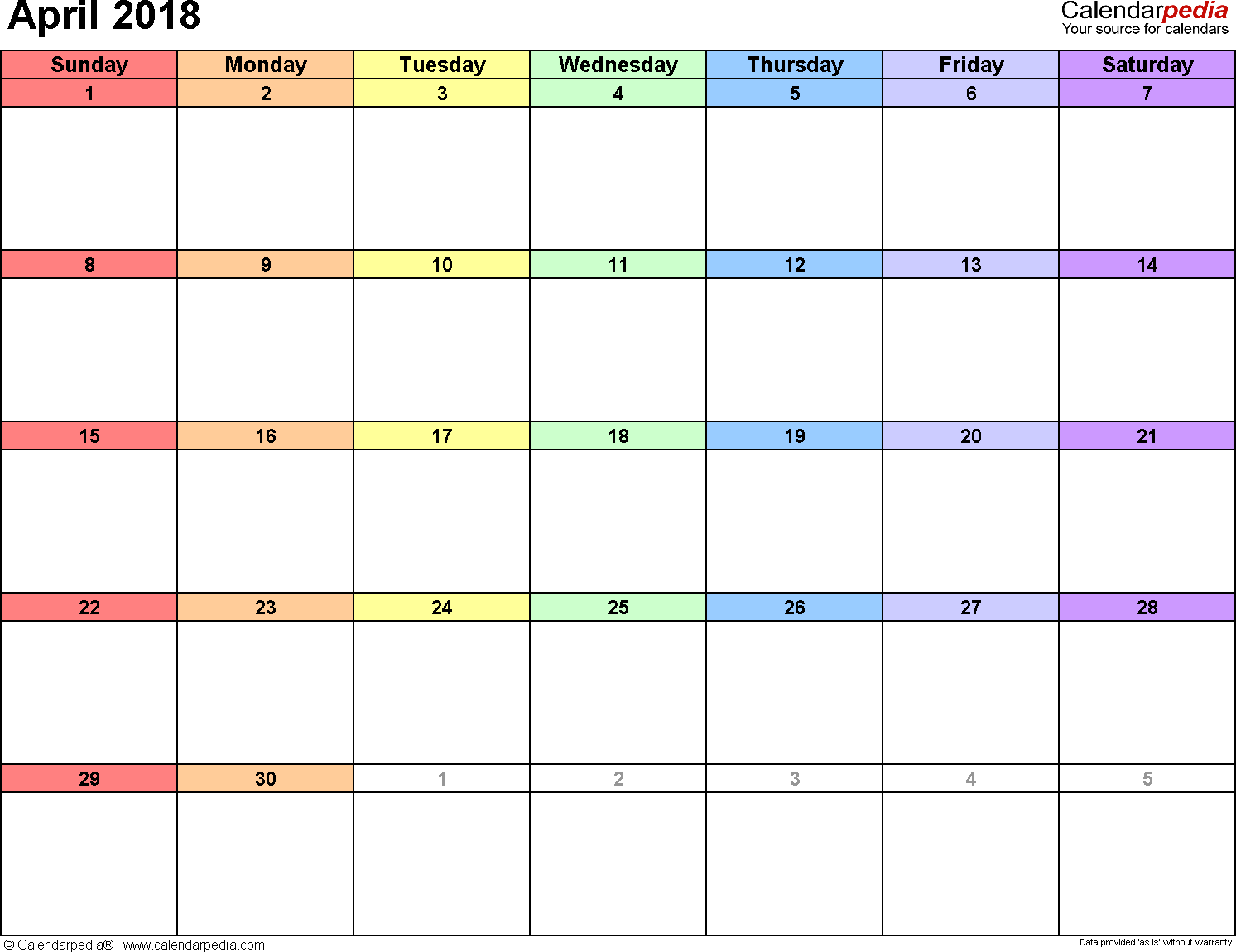 April 2018 calendar, landscape orientation, 'rainbow calendar', available as printable templates for Word, Excel and PDF