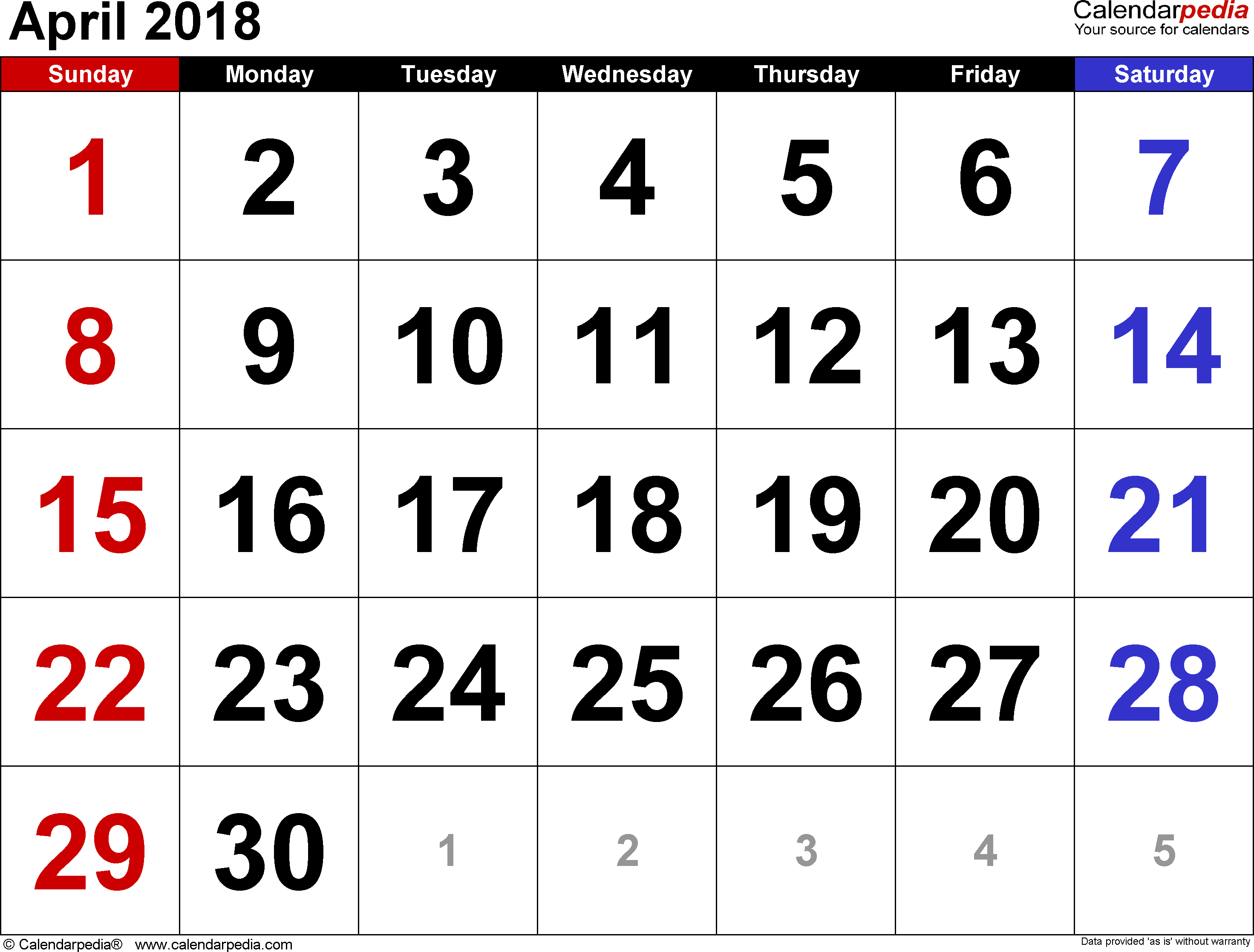 Calendar April 2018 : April calendars for word excel pdf