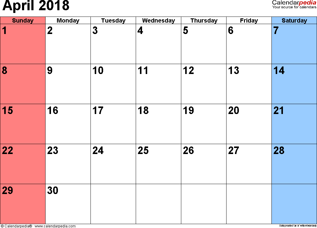 editable excel calendar april 2018