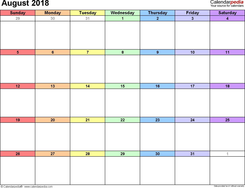 August 2018 calendar, landscape orientation, 'rainbow calendar', available as printable templates for Word, Excel and PDF