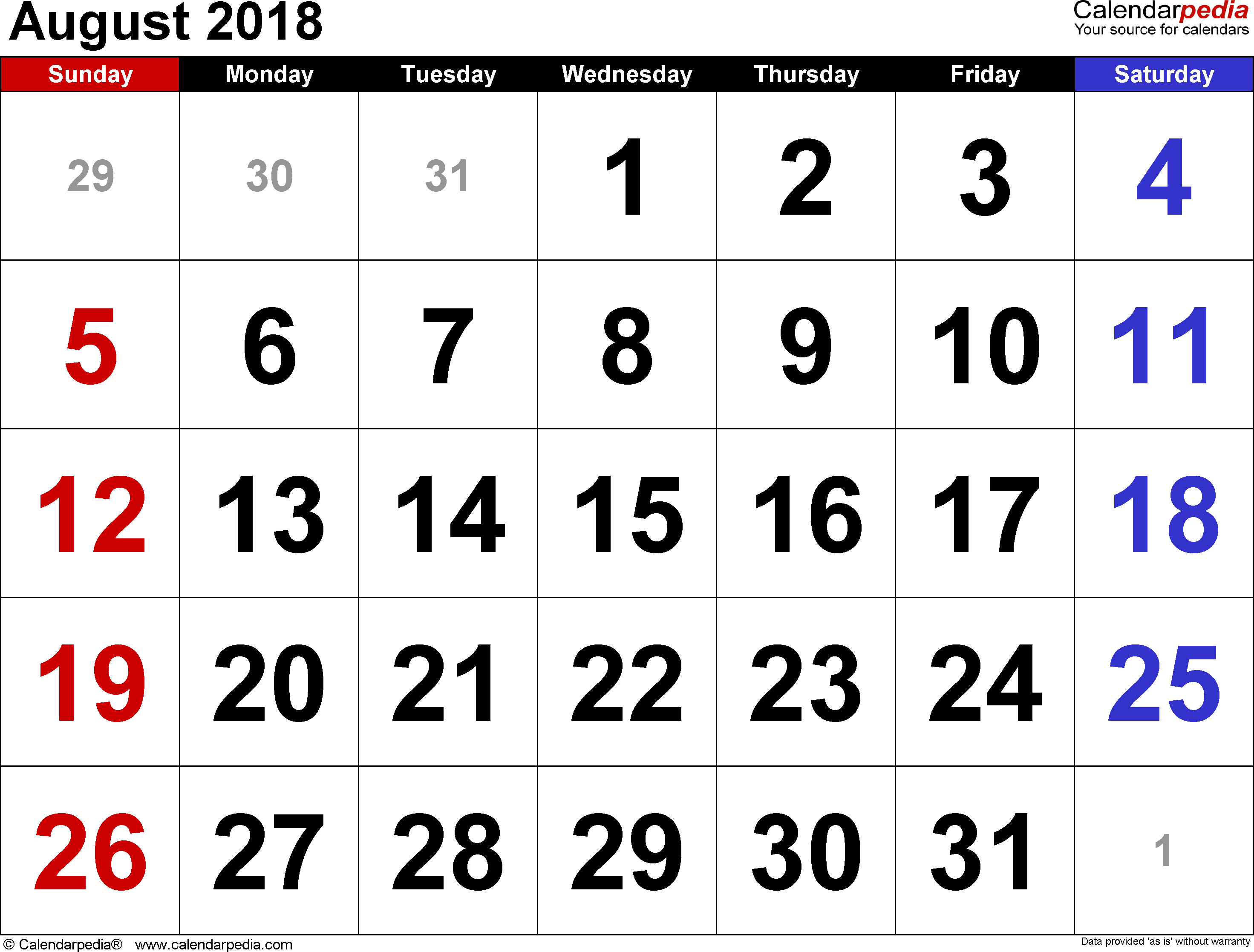 August 2018 calendar, landscape orientation, large numerals, available as printable templates for Word, Excel and PDF
