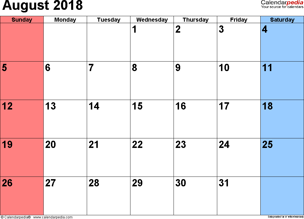August 2018 calendar, landscape orientation, small numerals, available as printable templates for Word, Excel and PDF