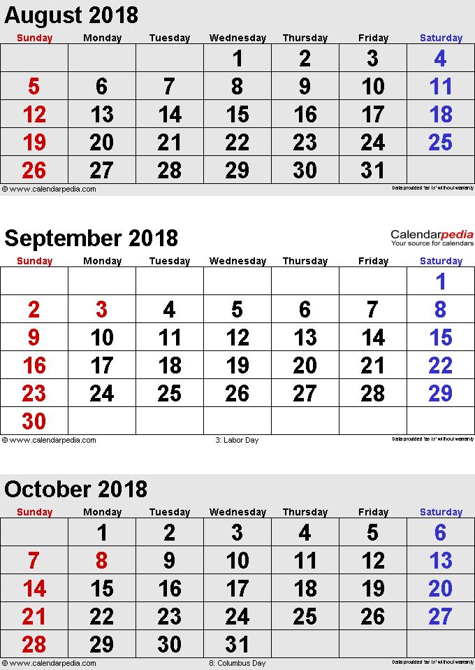 three month calendar August/September/October 2018 in portrait orientation