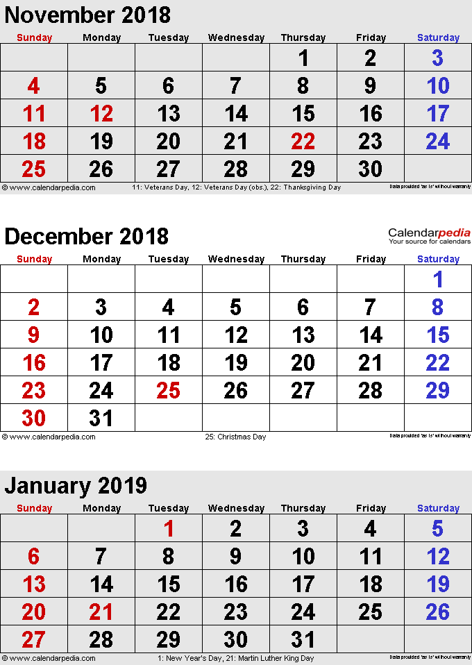 3 months calendar November/December 2018 & January 2019 in portrait format