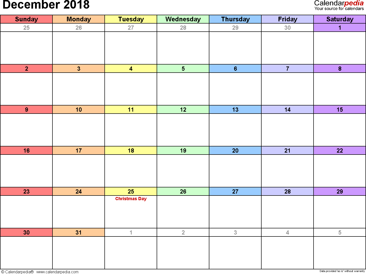 December 2018 Calendars for Word, Excel & PDF
