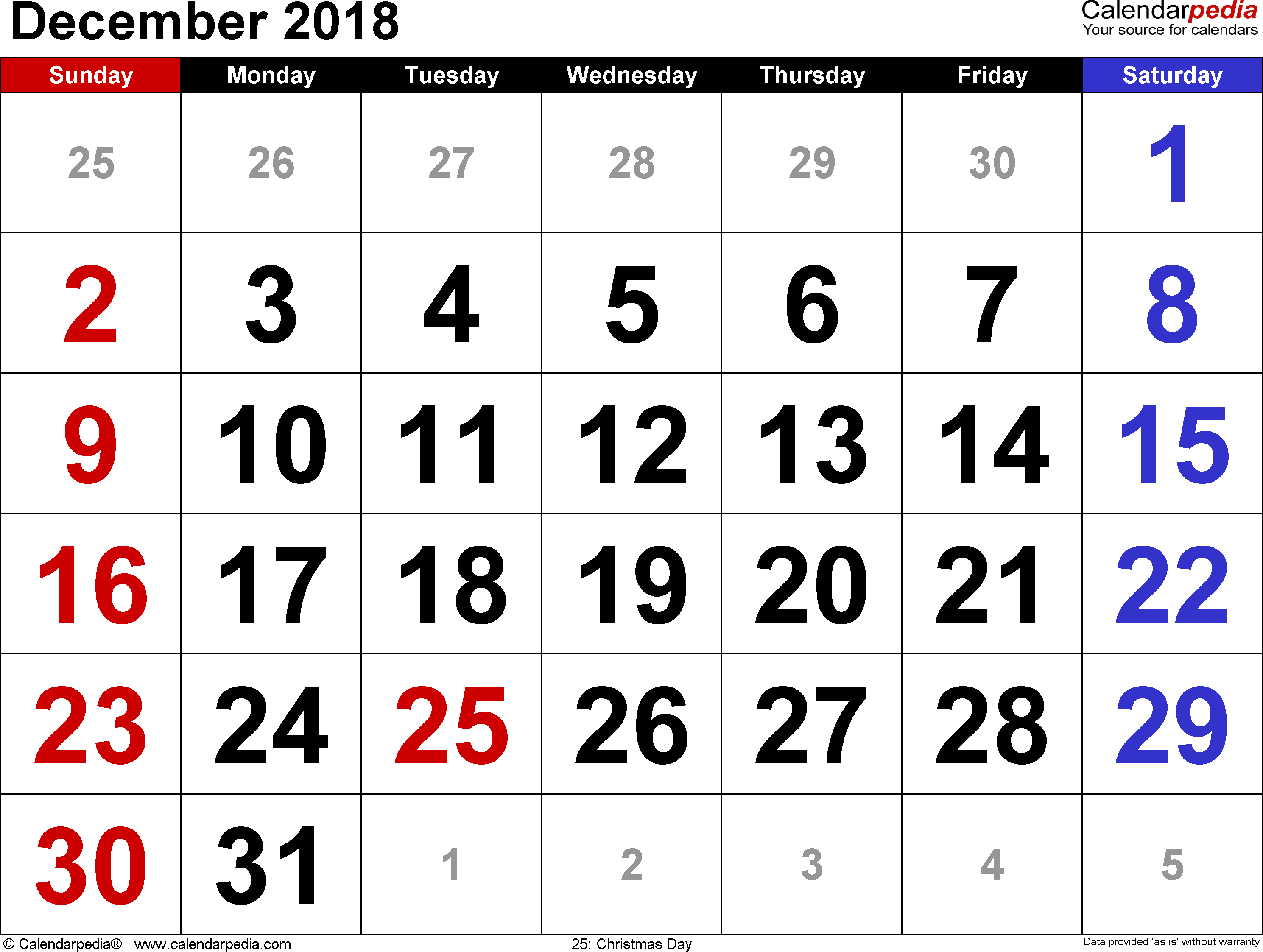 December 2018 calendar, landscape orientation, large numerals, available as printable templates for Word, Excel and PDF
