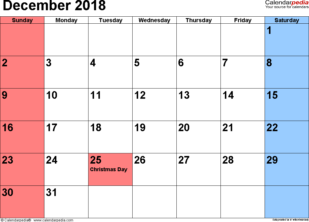 December 2018 calendar, landscape orientation, small numerals, available as printable templates for Word, Excel and PDF