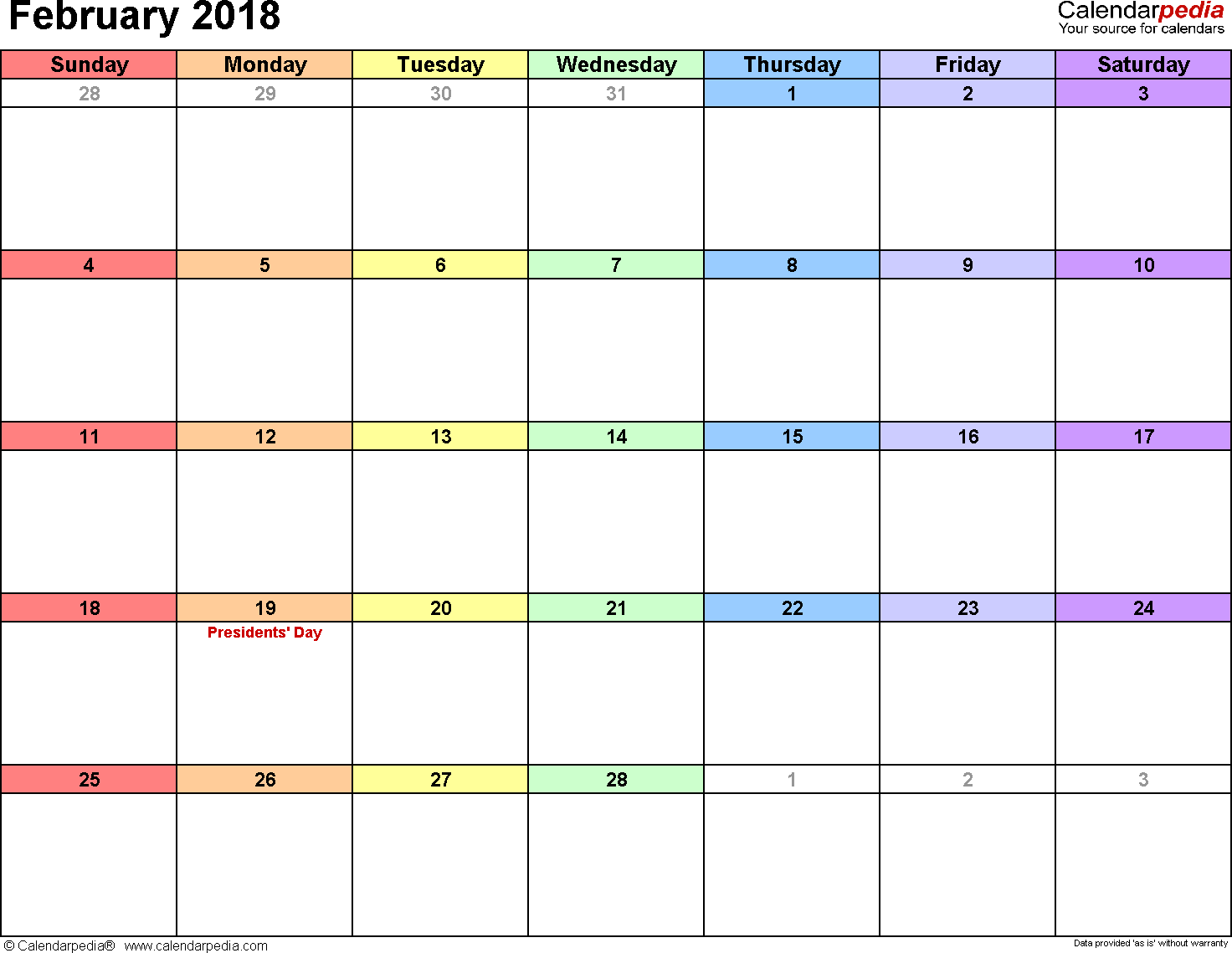 February 2018 calendar, landscape orientation, 'rainbow calendar', available as printable templates for Word, Excel and PDF